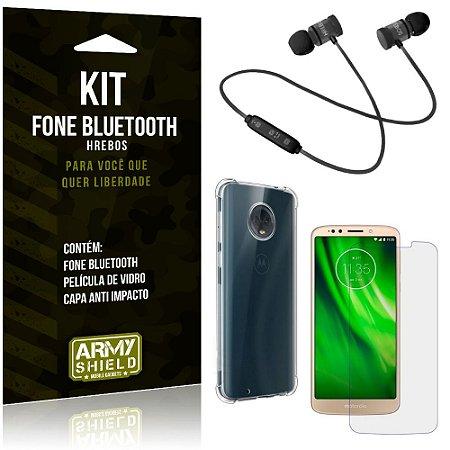 Kit Fone Bluetooth Hrebos Moto G6 Play + Capa Anti + Película Vidro - Armyshield