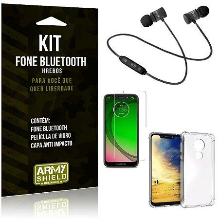 Kit Fone Bluetooth Hrebos Moto G7 Play + Capa Anti + Película Vidro - Armyshield