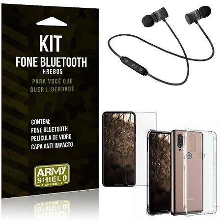 Kit Fone Bluetooth Hrebos Moto One Vision + Capa Anti + Película Vidro - Armyshield