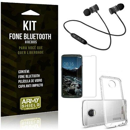 Kit Fone Bluetooth Hrebos Moto Z3 Play + Capa Anti + Película Vidro - Armyshield