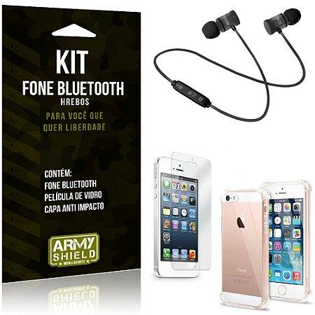 Kit Fone Bluetooth Hrebos iPhone 5 - 5S - SE + Capa Anti + Película Vidro - Armyshield
