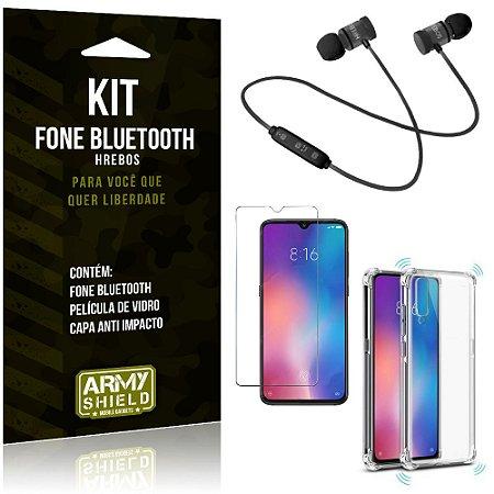 Kit Fone Bluetooth Hrebos Mi 9 + Capa Anti + Película Vidro - Armyshield
