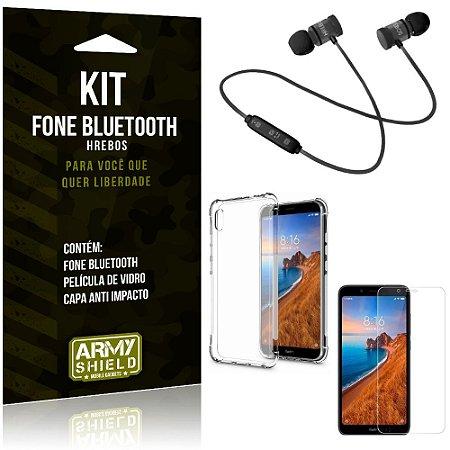 Kit Fone Bluetooth Hrebos Redmi 7A + Capa Anti + Película Vidro - Armyshield