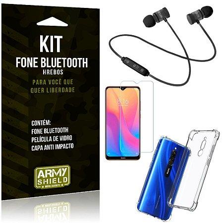 Kit Fone Bluetooth Hrebos Redmi 8 + Capa Anti + Película Vidro - Armyshield