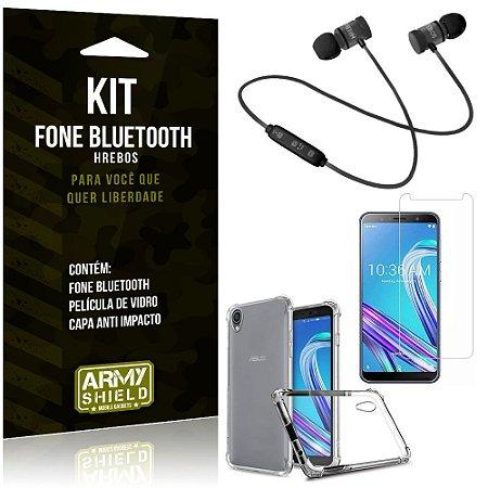 Kit Fone Bluetooth Hrebos Zenfone Live L1 ZA550KL + Capa Anti + Película Vidro - Armyshield
