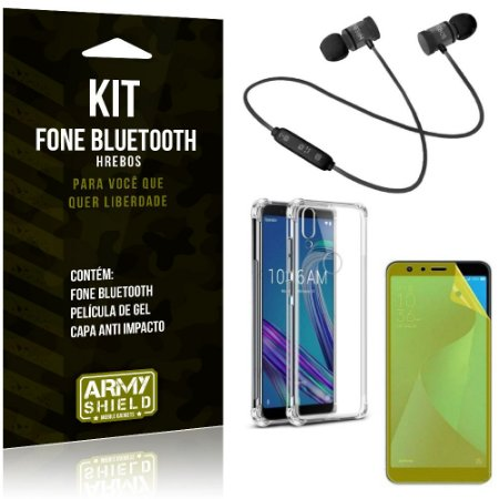 Kit Fone Bluetooth Hrebos Zenfone Max Pro M1 ZB602KL + Capa Anti + Película Vidro - Armyshield