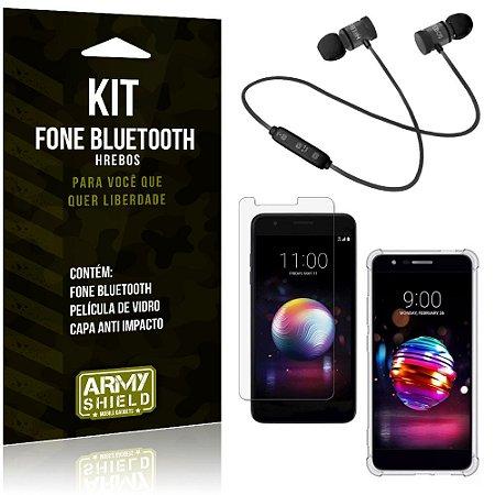 Kit Fone Bluetooth Hrebos LG K11 Plus + Capa Anti + Película Vidro - Armyshield