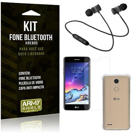 Kit Fone Bluetooth Hrebos LG K8 Novo + Capa Anti + Película Vidro - Armyshield
