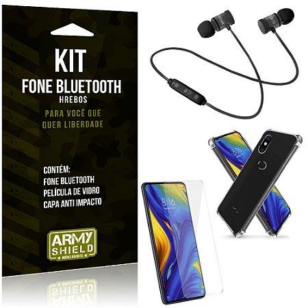 Kit Fone Bluetooth Hrebos Mi Mix 3 + Capa Anti + Película Vidro - Armyshield