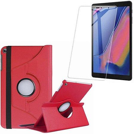 Capa Giratória Galaxy Tab A 8 S-pen P200/P205 Vermelha + Película Vidro - Armyshield