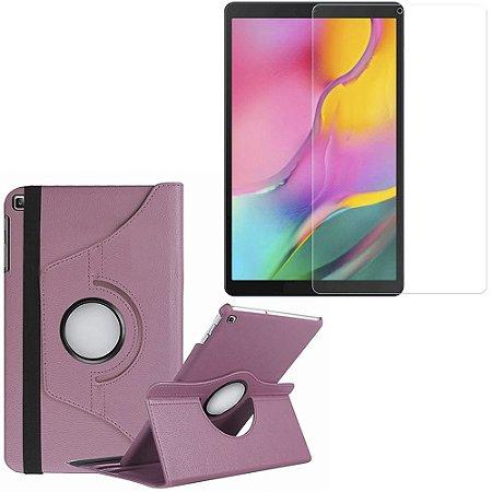 Capa Giratória Galaxy Tab A 10.1' T515/T510 Rosa Claro + Película Vidro - Armyshield