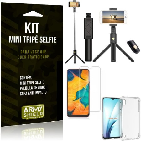 Kit Mini Tripé Selfie Galaxy A10 + Capa Anti + Película Vidro - Armyshield