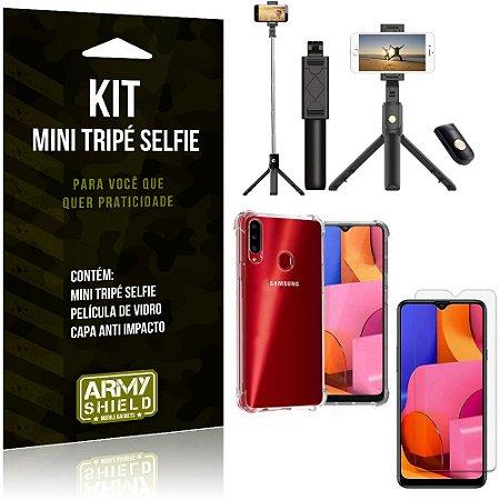 Kit Mini Tripé Selfie Galaxy A20s + Capa Anti + Película Vidro - Armyshield