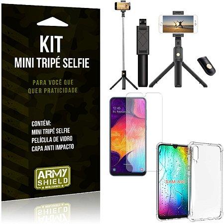 Kit Mini Tripé Selfie Galaxy A50 + Capa Anti + Película Vidro - Armyshield