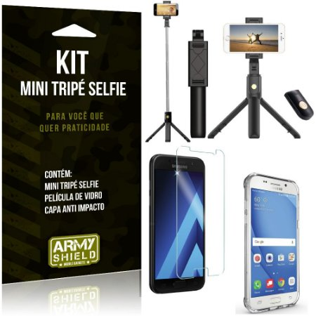 Kit Mini Tripé Selfie Galaxy A5 (2017) + Capa Anti + Película Vidro - Armyshield