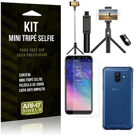 Kit Mini Tripé Selfie Galaxy A6 + Capa Anti + Película Vidro - Armyshield