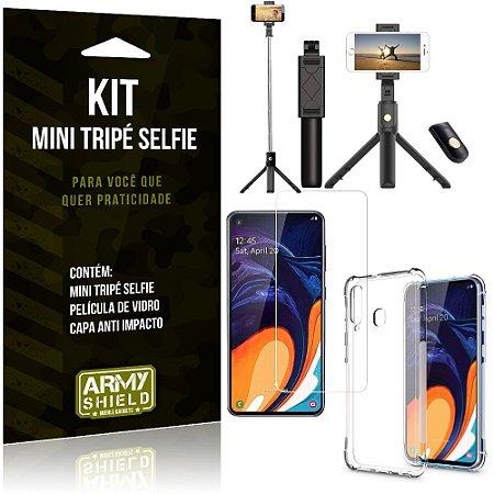 Kit Mini Tripé Selfie Galaxy A60 + Capa Anti + Película Vidro - Armyshield