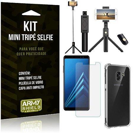 Kit Mini Tripé Selfie Galaxy A8 + Capa Anti + Película Vidro - Armyshield