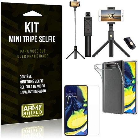 Kit Mini Tripé Selfie Galaxy A80 + Capa Anti + Película Vidro - Armyshield