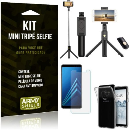 Kit Mini Tripé Selfie Galaxy A8 Plus + Capa Anti + Película Vidro - Armyshield