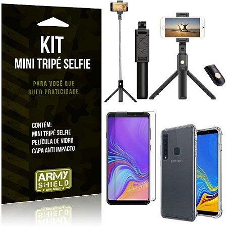Kit Mini Tripé Selfie Galaxy A9 (2018) + Capa Anti + Película Vidro - Armyshield