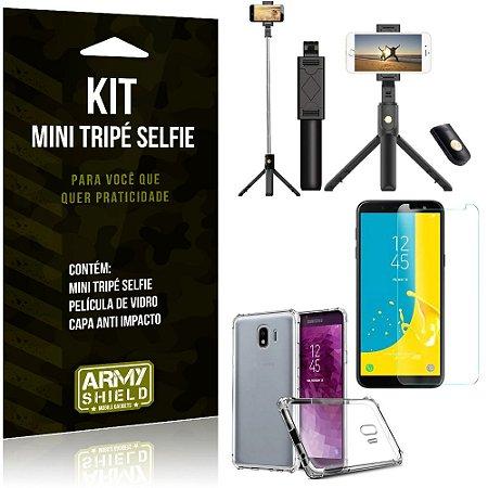 Kit Mini Tripé Selfie Galaxy J4 (2018) + Capa Anti + Película Vidro - Armyshield