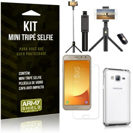 Kit Mini Tripé Selfie Galaxy J7 Neo (2017) + Capa Anti + Película Vidro - Armyshield