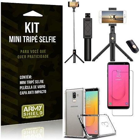 Kit Mini Tripé Selfie Galaxy J8 (2018) + Capa Anti + Película Vidro - Armyshield