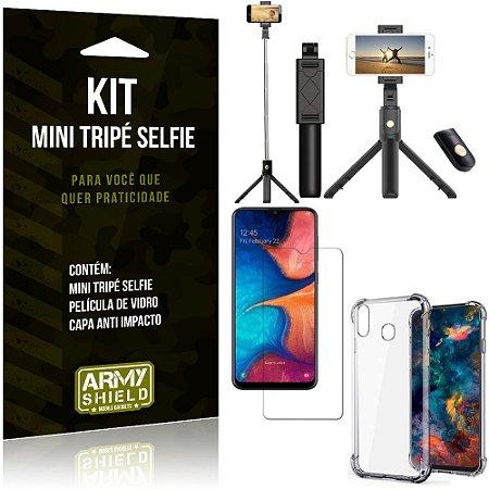 Kit Mini Tripé Selfie Galaxy M20 + Capa Anti + Película Vidro - Armyshield