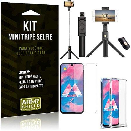 Kit Mini Tripé Selfie Galaxy M30 + Capa Anti + Película Vidro - Armyshield