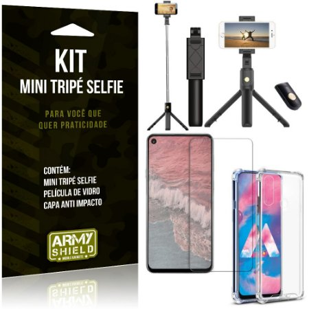 Kit Mini Tripé Selfie Galaxy M40 + Capa Anti + Película Vidro - Armyshield