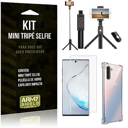 Kit Mini Tripé Selfie Galaxy Note 10 + Capa Anti + Película Vidro - Armyshield
