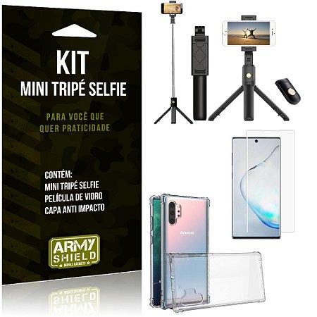 Kit Mini Tripé Selfie Galaxy Note 10 Plus + Capa Anti + Película Vidro - Armyshield