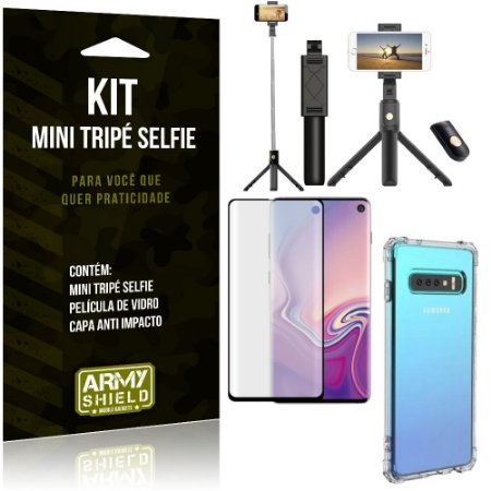 Kit Mini Tripé Selfie Galaxy S10 + Capa Anti + Película Vidro - Armyshield