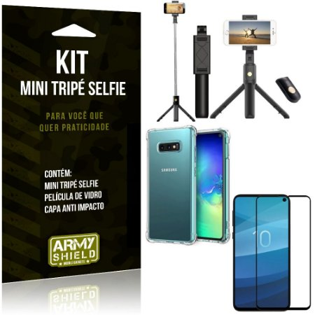 Kit Mini Tripé Selfie Galaxy S10e + Capa Anti + Película Vidro - Armyshield