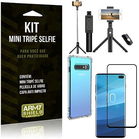 Kit Mini Tripé Selfie Galaxy S10 Plus + Capa Anti + Película Vidro - Armyshield
