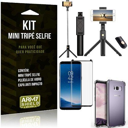 Kit Mini Tripé Selfie Galaxy S8 + Capa Anti + Película Vidro - Armyshield