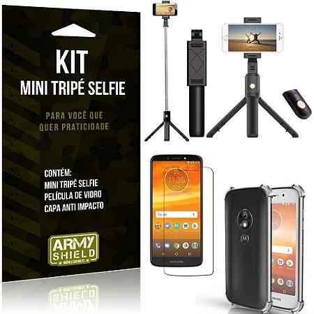 Kit Mini Tripé Selfie Moto E5 Play + Capa Anti + Película Vidro - Armyshield