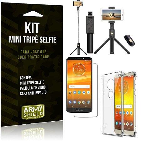 Kit Mini Tripé Selfie Moto E5 Plus + Capa Anti + Película Vidro - Armyshield