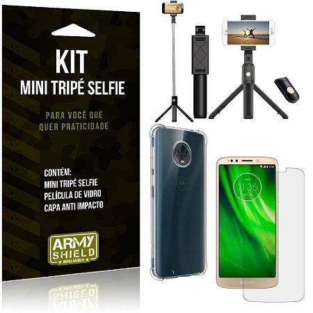 Kit Mini Tripé Selfie Moto G6 Play + Capa Anti + Película Vidro - Armyshield