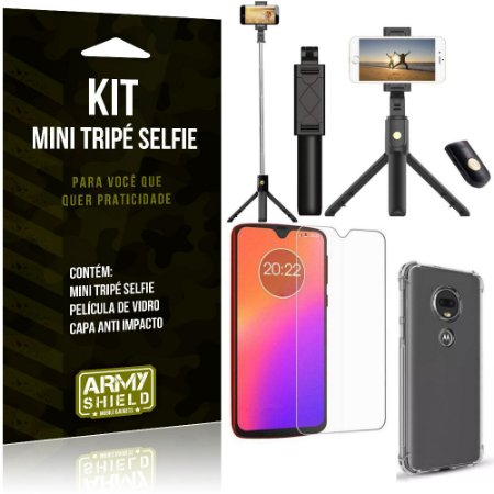 Kit Mini Tripé Selfie Moto G7 + Capa Anti + Película Vidro - Armyshield