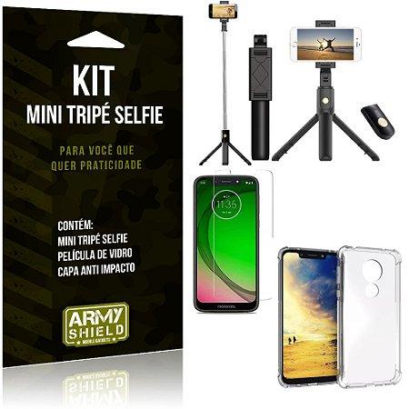 Kit Mini Tripé Selfie Moto G7 Play + Capa Anti + Película Vidro - Armyshield