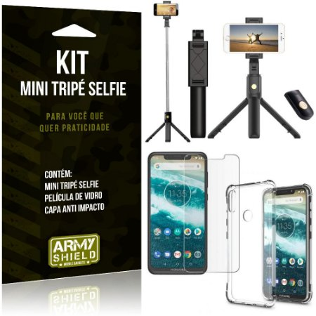 Kit Mini Tripé Selfie Moto One + Capa Anti + Película Vidro - Armyshield