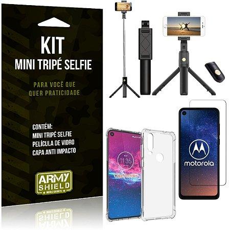 Kit Mini Tripé Selfie Moto One Action + Capa Anti + Película Vidro - Armyshield