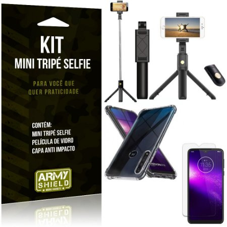 Kit Mini Tripé Selfie Moto One Macro + Capa Anti + Película Vidro - Armyshield