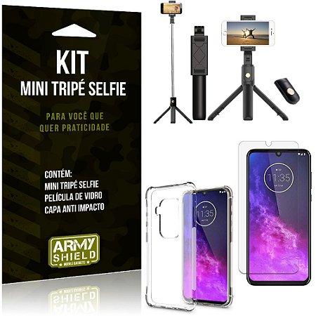 Kit Mini Tripé Selfie Moto One Zoom + Capa Anti + Película Vidro - Armyshield