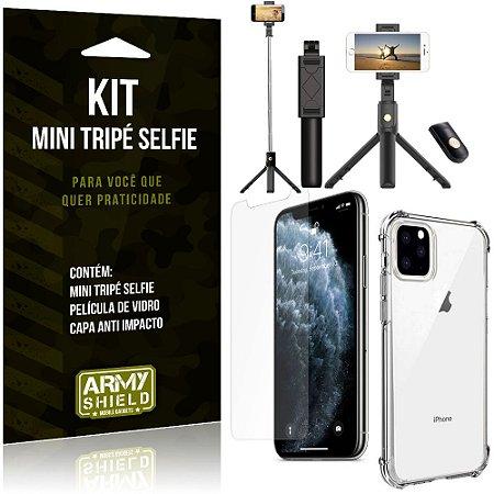 Kit Mini Tripé Selfie iPhone 11 Pro Max 6.5 + Capa Anti + Película Vidro - Armyshield