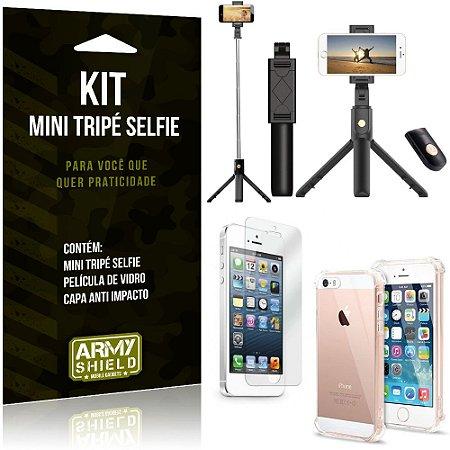 Kit Mini Tripé Selfie iPhone 5 - 5S - SE + Capa Anti + Película Vidro - Armyshield