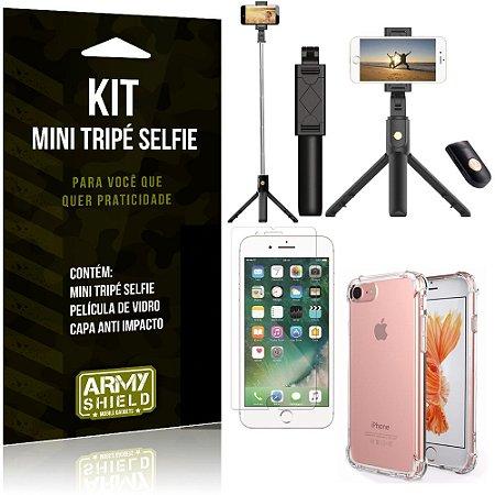 Kit Mini Tripé Selfie iPhone 7 + Capa Anti + Película Vidro - Armyshield