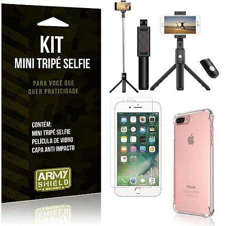Kit Mini Tripé Selfie iPhone 7 Plus + Capa Anti + Película Vidro - Armyshield
